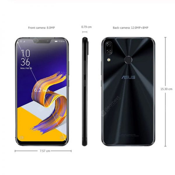 Global Version ASUS Zenfone 5 ZE620KL Mobile Phone 6.2 Inch Android 8.0 12MP 8MP 3300mAh