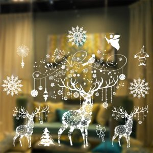 Christmas Window Stickers Christmas Decorations for Home Navidad 2020 Christmas Ornaments Xmas Party Decor Happy New Year 2021