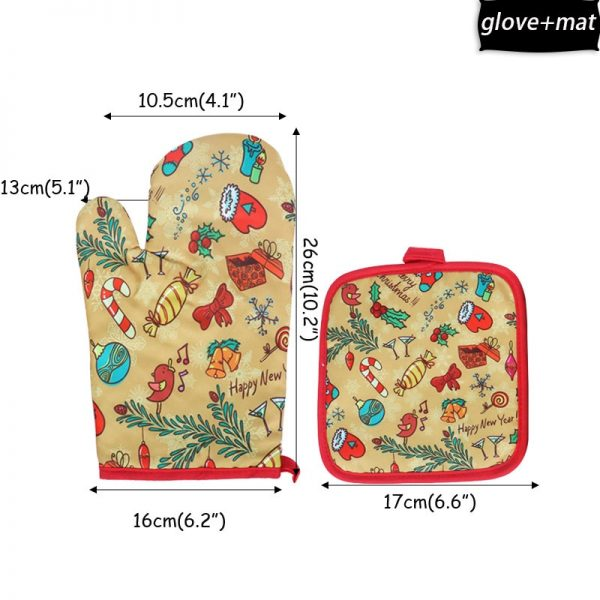 2Pcs/set Oven gloves Potholders For Kitchen Christmas Decorations Baking Accessories New Year 2021 Home Anti-scald Backing tools