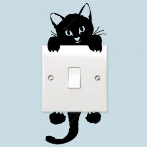 Cute Kitten Switch Sticker PVC Removable Wall Stickers