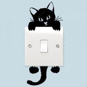 Cute Kitten Switch Sticker PVC Removable Wall Stickers