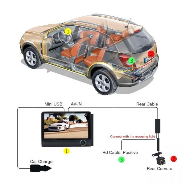 3 Lens Car Dash Camera 4inch Display HD 1080P Car DVR Video Recorder 170 Degree Wide Angle