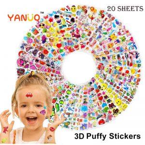 1-20 Sheets/lot 3D Cartoon Animal Princess Puffy Stickers For Kids Baby Boy Girls Birthday Gifts Cartoon Stickers,Sent at random