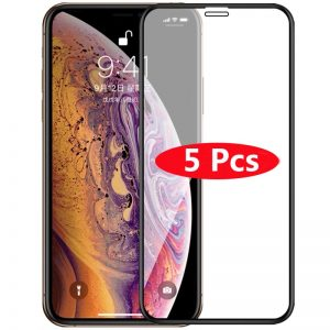 5Pcs/Lot Full Cover Tempered Glass For iPhone XS Max XR Screen Protector Glass On iPhone 6 6s 7 8 Plus X 5 5S 11 12 Pro Max Mini