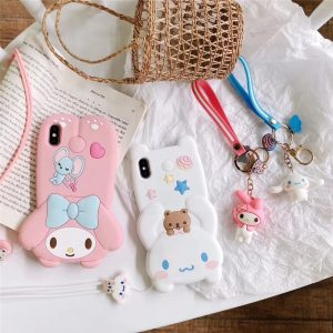 Cute 3D doll Melody Cinnamoroll phone case for iphone 11 Pro X XR XS MAX 6 7 8 plus lovely dog soft silicone cover lanyard coque