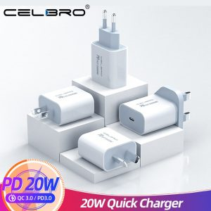 For Iphone 12 Pro Charger 20W PD Usb C Quick Charger Adapter for IPhone 12 Mini 12Pro Max 11 Samsung Type C Chargers Portable EU